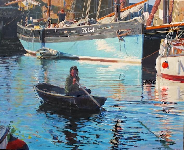 Elise sculling, Mousehole Harbour
