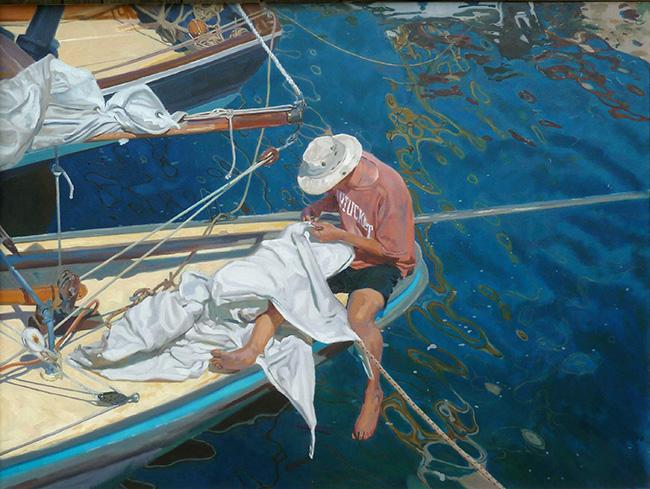 Man mending sails, Mousehole Harbour