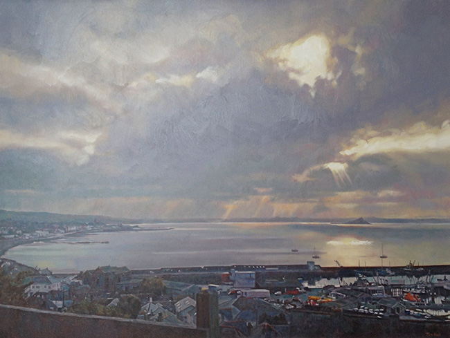"Burst of light over St Michael""s Mount from Newlyn"
