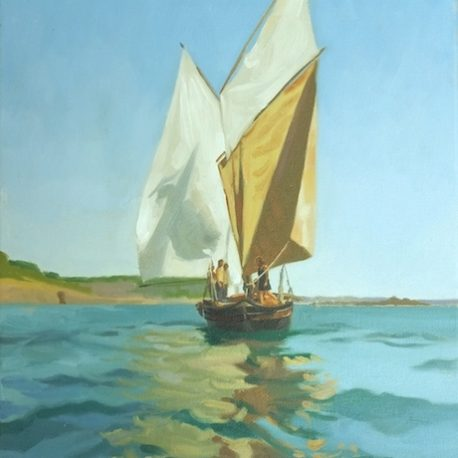 "Rose of Argyll, ""butterfly sails"", Mousehole Original oil painting - oil on canvas"